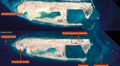 China's reclamation in the disputed South China Sea has forced neighbouring countries like the Philippines to expand its military [EPA]