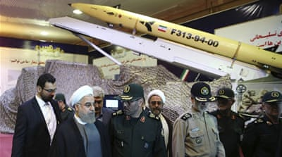 The missile was displayed as part of Defence Industry Day, an annual event that showcases Iran's hardware [AP]