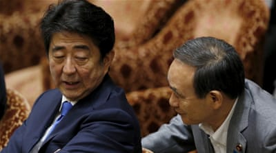Abe did not appear to be a direct target of the alleged US phone tapping but his trade minister was [EPA]
