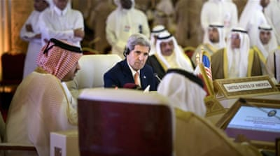 Kerry met the Emir of Qatar before a separate meeting with GCC foreign ministers [Awad Joumaa/Al Jazeera]