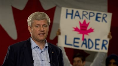Stephen Harper delivers his campaign speech during a campaign stop in Mississauga, Ontario, Canada [AP]