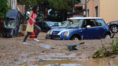 Less than a month after floods swept across southern Italy, severe storms have returned causing further disruption [EPA]