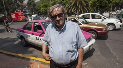 Sixty-eight-year-old taxi driver Arturo Benitez says he is a collector of confessions and that many of those who get in his cab have a secret to share [Alejandro Saldivar]