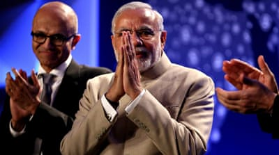 Modi met several executives in the West Coast including Google CEO Pichai and Microsoft's Nadella [AP]