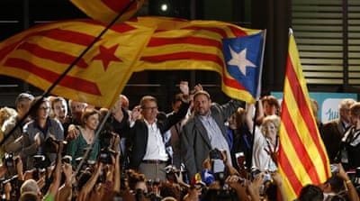 Catalan parties that advocate breaking away from Spain have won a majority of seats in the region's elections [AP]