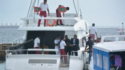 Gayoom was unhurt when an explosion went off on his speedboat on September 28, injuring his wife and two staff members [AP]