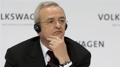 Winterkorn resigned in the midst of outrage over devices discovered in Volkswagen cars that fooled official pollution tests [AP]
