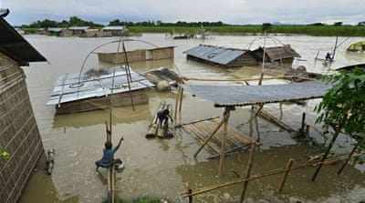 Thousands have been displaced in monsoon floods in Assam state and more than 1,600 villages were inundated [EPA]