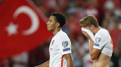 Turkey have left Netherlands on the verge of missing their first Euros for three decades [EPA]