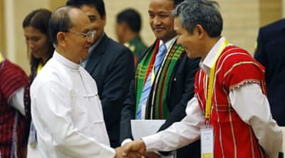 Representatives of five main ethnic groups met Thein Sein on Wednesday [AP]