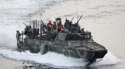A US Navy riverine gun-boat patrols during an International Mine Countermeasures Exercise [REUTERS]