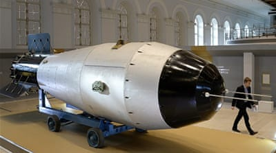 Mock-up of a Soviet AN602 hydrogen bomb at an exhibition devoted to the 70th anniversary of Russia's nuclear industry in Moscow [AFP]