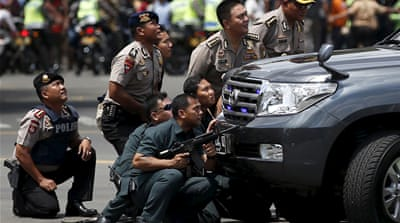 Police locked down the Sarinah area in downtown Jakarta, which was hit by several explosions [Darren Whiteside/Reuters]