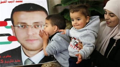 Al-Qeq is a married father of two who has been on hunger strike for almost 60 days [Abed Al Hashlamoun/EPA]
