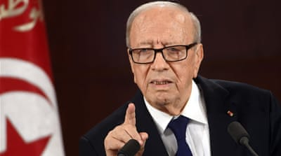 President Essebsi donated one month of his salary in support of the security forces' fight against ISIL [AFP]