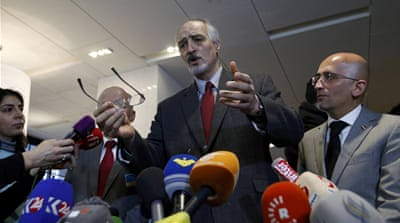 Syrian ambassador Bashar Jaafari said Damascus will not accept preconditions for negotiations [Denis Balibouse/Reuters]