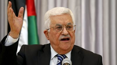 Palestinian President Mahmoud Abbas gestures as he delivers a speech in the West Bank city of Bethlehem [REUTERS]