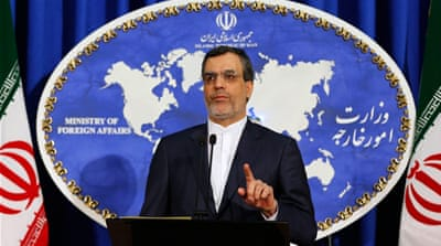 Foreign ministry spokesman Ansari addressed journalists at a press conference on Monday [EPA]