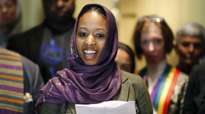 Christian professor Larycia Hawkins has been reprimanded for wearing the hijab to class [Charles Rex Arbogast/AP]