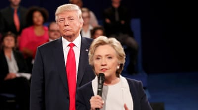 "In the second presidential debate, Trump sidesteps lewd comments made about women and calls Clinton ""the devil"" [Reuters]"