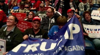 Thousands of Trump supporters packed the Wilkes-Barre arena this week as he held a rally [Cajsa Wikstrom/Al Jazeera]