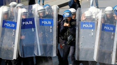 Ankara police clashed with demonstrators who gathered to mark last year's suicide bombing [Umit Bektas/Reuters]