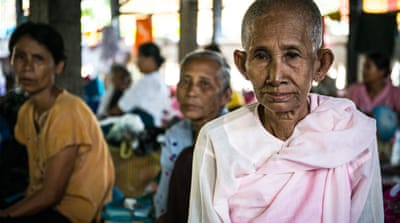 Buddhist Rakhine are thought to have fled Maungdaw township after a series of attacks  on border posts, with most seeking refuge in monasteries across the state [Katie Arnold/Al Jazeera]