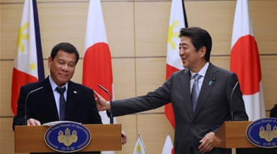 Duterte and Prime Minister Abe said their countries share common values as democracies [Reuters]