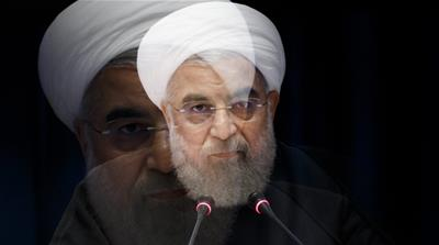 A slow-shutter speed effect shows Hassan Rouhani, President of Iran, speaking during a news conference in New York [EPA]