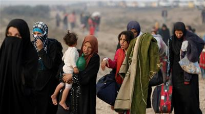 Iraqi civilians have had to make the dangerous journey fleeing the violence on foot [Reuters]