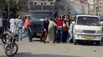 Plain clothes security arrested protesters at al-Arbeen square, in Ismailia, 130km north-east of Cairo [EPA]