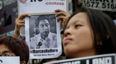 Protests are planned nationwide to oppose the hero's burial of Marcos [EPA]