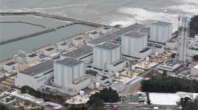 An aerial view shows Tokyo Electric Power Co.'s Fukushima Daini nuclear power plant in Naraha town, Fukushima prefecture, Japan