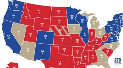 The map shows the result of the electoral college vote in 2012
