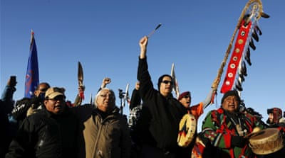 The protest has garnered support from thousands who have flocked to North Dakota [Lucas Jackson/Reuters]