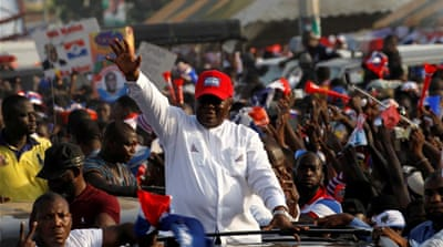 Akufo-Addo, pictured with his wife Rebecca, was making his third bid for the top job [Reuters]