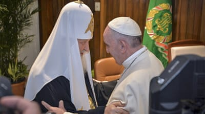 Pope meets Russian Orthodox head after 962 years