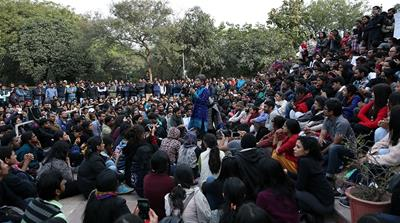 Several groups called for a strike and few students attended classes after the student leader's arrest [Showkat Shafi/Al Jazeera]