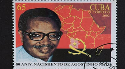 Cuban postage stamp shows Antonio Agostinho Neto, the first president of Angola who led MPLA forces in the war for independence [Roberto Machado Noa/LightRocket/Getty Images]