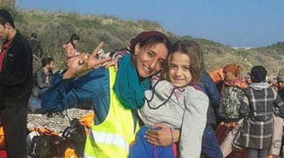 Nawal Soufy with refugees who have recently arrived on the Greek island of Lesbos [Photo courtesy of Nawal Soufy]