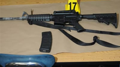 A police photo showing a Bushmaster rifle belonging to Sandy Hook Elementary school gunman Adam Lanza [Reuters]