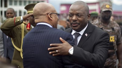 Burundi's leader Pierre Nkurunziza triggered the crisis when he announced a bid for a third term [Evrard Ngendakumana/Reuters]