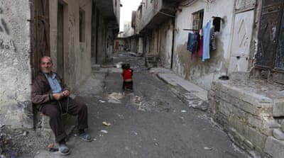 A street in the rebel-held neighbourhood of Tishreen, Damascus, shortly after the ceasefire went into effect [EPA]