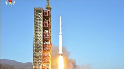 Pyongyang said the launch carried a satellite but the US and others say it was a move to test a ballistic missile [Ahn Young-joon/AP Photo]