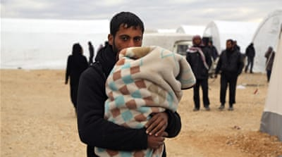 Temporary refugee camps in northern Syria have been set up for those escaping the offensive in Aleppo [AP]