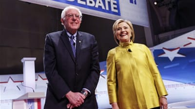 Democratic presidential candidates Bernie Sanders and Hillary Clinton [EPA]