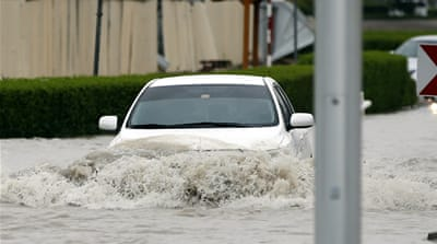 Several areas in Dubai remained flooded a day after heavy rains hit the UAE and other Gulf states [Ali Haider/EPA]