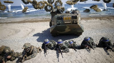 South Korea and US forces storm mock North Korea beach