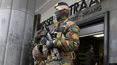 Police control access to the central train station after Tuesday''s bomb attacks in Brussels [REUTERS]