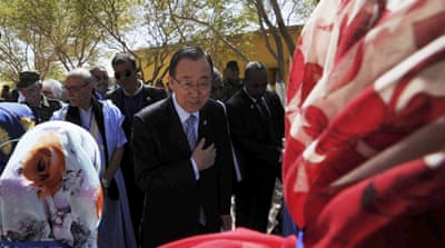 Ban said the word during a visit to refugee camps in southern Algeria for the Sahrawi people [Abdeljalil Bounhar/AP]